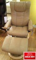Low Price Stressless Wing Recliner in Sand Paloma Leather with Natural Stained Wood.
