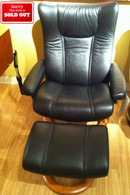 Stressless Eagle Recliner on Sale- Black Paloma Leather with Cherry Wood and Matching Personal Laptop Table.