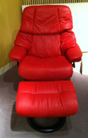 Large Stressless Vegas Recliner in Chili Red Paloma Leather.