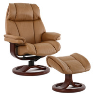 Fjords General Recliner and Footstool- Hassel Soft Line Leather with Walnut Wood.
