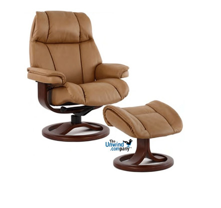 New 2016 Fjords General Recliner- Small Size shown with R Base shown in Hassel Soft Line Leather.