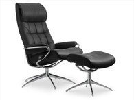 Black Paloma Leather Stressless London Recliner with Ottoman in High Back option.