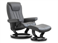 Classic Base Stressless Bliss Recliner with Footstool shown in Rock Paloma Leather.