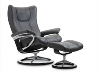 Stressless Signature Series Recliner- Wing shown in Black Paloma Leather.