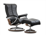 Black Paloma Leather Stressless Siganture Piano Recliner- Coming Soon to Unwind.