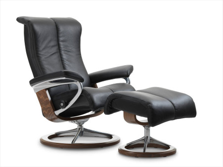 Stressless Piano Recliner  Signature Series Base Or Leg Comfort Powered  Ottoman   Unwind.com