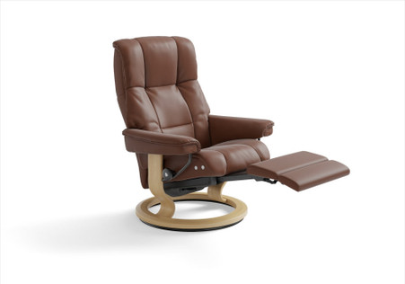 Stressless Mayfair recliner in Copper Paloma with the Classic LegComfort powered Base.