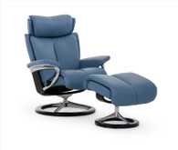 Sparrow Blue Paloma Leather shown on this Signature Series Stressless Magic Recliner by Ekornes.