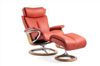 Henna Paloma Leather with Oak Wood- Stressless Magic Signature Recliner