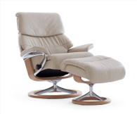 Light Grey Paloma Leather with Oak Stained Wood- Stressless Capri Recliner and Ottoman