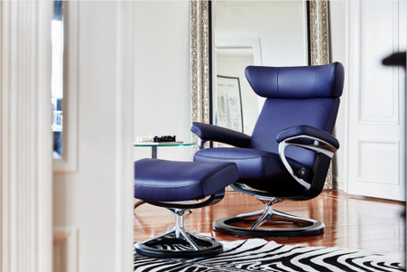 Stressless Viva Recliner and Ottoman shown in Indigo Paloma Leather with Black Stained Wood.