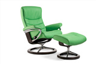 Summer Green Paloma Leather on a Stressless Nordic Recliner with Ottoman.