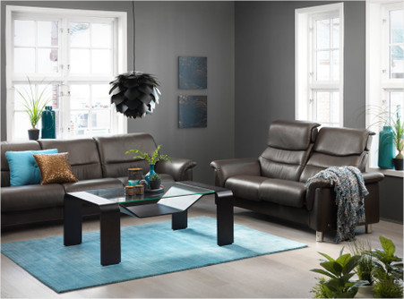 Stressless Como Low Back Sofa in Brown Cori Leather with High Back Love Seat option.
