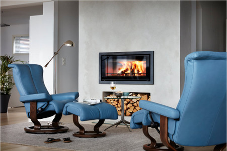 Stressless Piano Recliners in Classic Base Option shown in Sparrow Blue Paloma Leather.