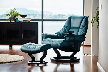Petrol Cori Leather shown on this Ekornes Live Recliner and Ottoman.