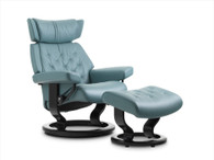 New Aqua Paloma Leather shown on this Classic Base Stressless Skyline Recliner.