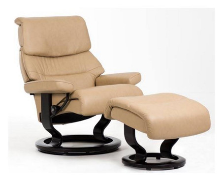 Large Sized Stressless Capri Recliner and Ottoman- Choose the Classic Hourglass Base Option at Unwind.