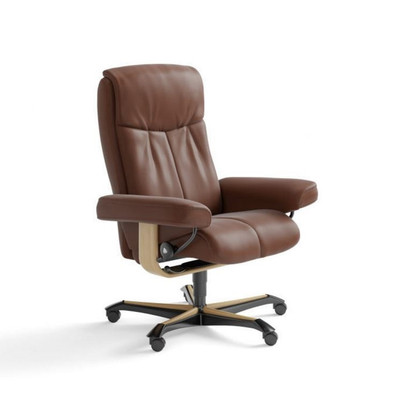 Copper Paloma Leather Stressless Peace Office Chair by Ekornes.