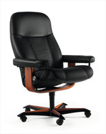 Black Batick Leather Stressless Consul Office Chair- Ekornes' Authorized Price Reduction Model