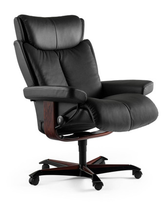 Stressless Magic Office- Black Paloma with Walnut Wood.