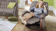 Kicked back and relaxed in the popular Mosel recliner by Himolla.