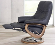 The Europe Reclining Chair by Himolla- Integrated footstool extended.