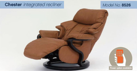 Himolla Chester Powered Recliner with Integrated Footstool