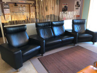 Stressless Space sectional. Black Paloma leather, black stained wood.