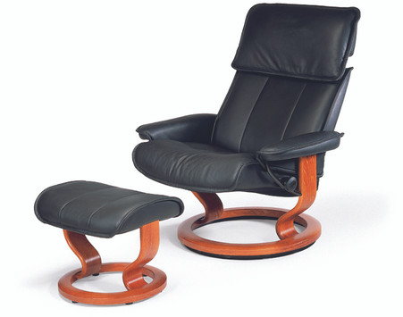 True comfort can be achieved with the Stressless Admiral Recliner and Ottoman!