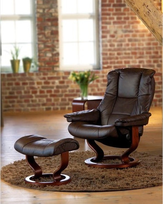 Chocolate Paloma Leather shown on this Kensington Recliner and Ottoman available for $2,795.00.