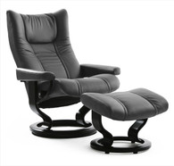Grey Batick Leather Stressless Wing Recliner and Ottoman- Large Size