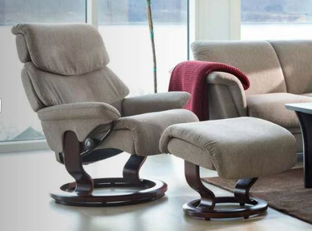Stressless Spirit Recliner in a dark beige Stella fabric option.
