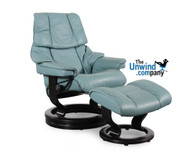 Small Stressless Reno (Tampa) Recliner shown with Elevator Ring and Aqua Green Paloma Leather.