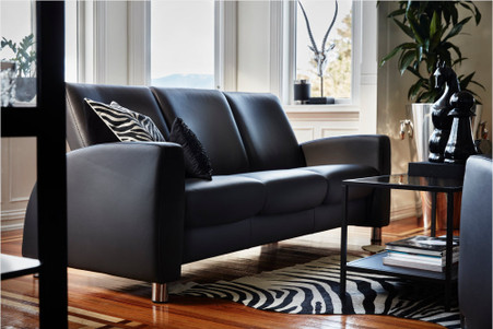 Black Paloma Leather Stressless Arion 3 Seat Lowback Sofa