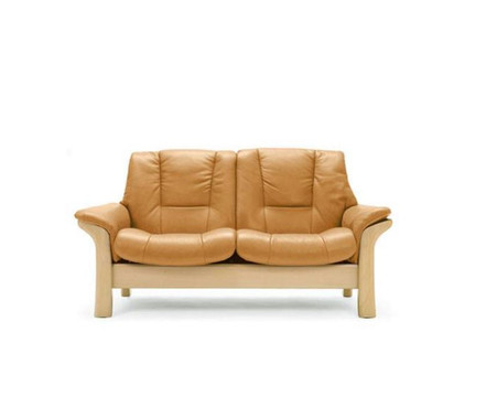 Stressless Buckingham Low Back Loveseat shown with Paloma Leather and natural stained wood.