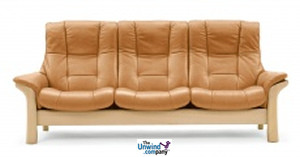 Ekornes Stressless Buckingham High-Back- 3 Seat Sofa shown in Tan Paloma.