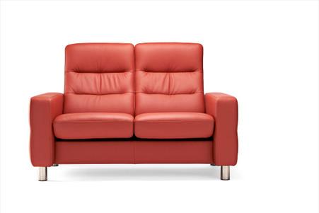 Henna Paloma Leather- Stressless Wave High Back Loveseat Sofa