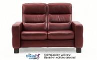 Ekornes Stressless Wave High-Back Loveseat shown with armrests.