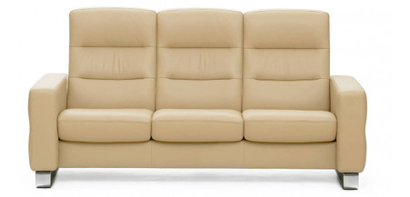 Stressless Wave Sofa shown with Metal Feet and Camel Paloma leather.