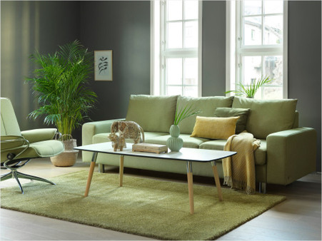 E200 shown in Calido Fabric: Light Green with a City Low Back Recliner in Fabric.