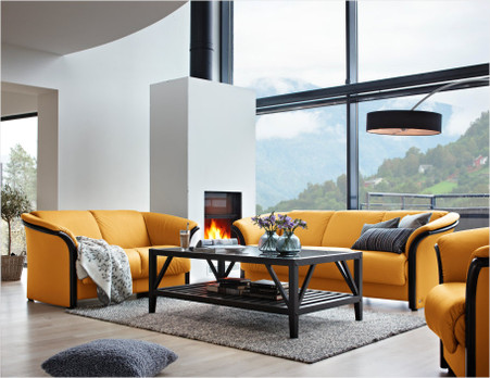 Mustard Cori Leather shown on this Ekornes Manhattan Sofa Loveseat.
