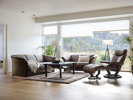 Manhattan sofas shown with Magic recliner - Khaki Paloma.