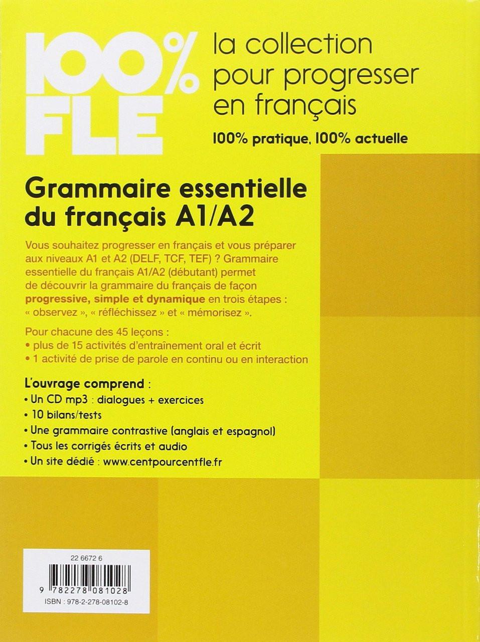 100 Fle Grammaire Essentielle Francais A2 Livre Cdmp3