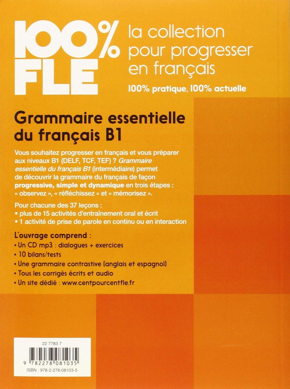100 Fle Grammaire Essentielle Francais B1 Livre Cdmp3