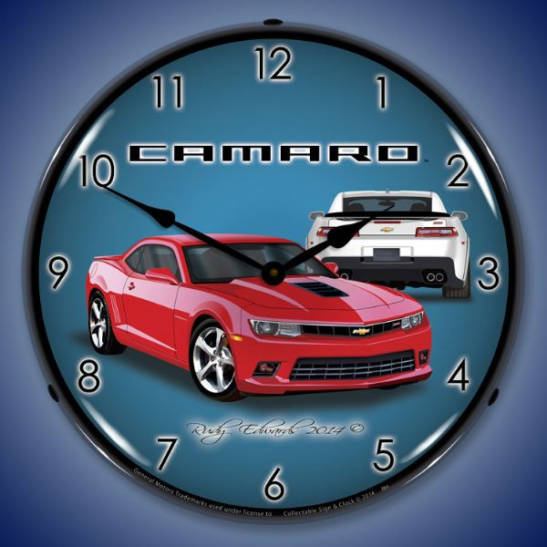 Camaro Ss Red Hot Backlit Clock Auto Gear Direct