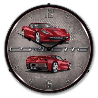 C7 Crystal Red Corvette Backlit Clock