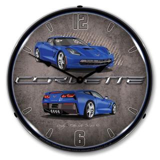 C7 Night Race Blue Corvette Backlit Clock