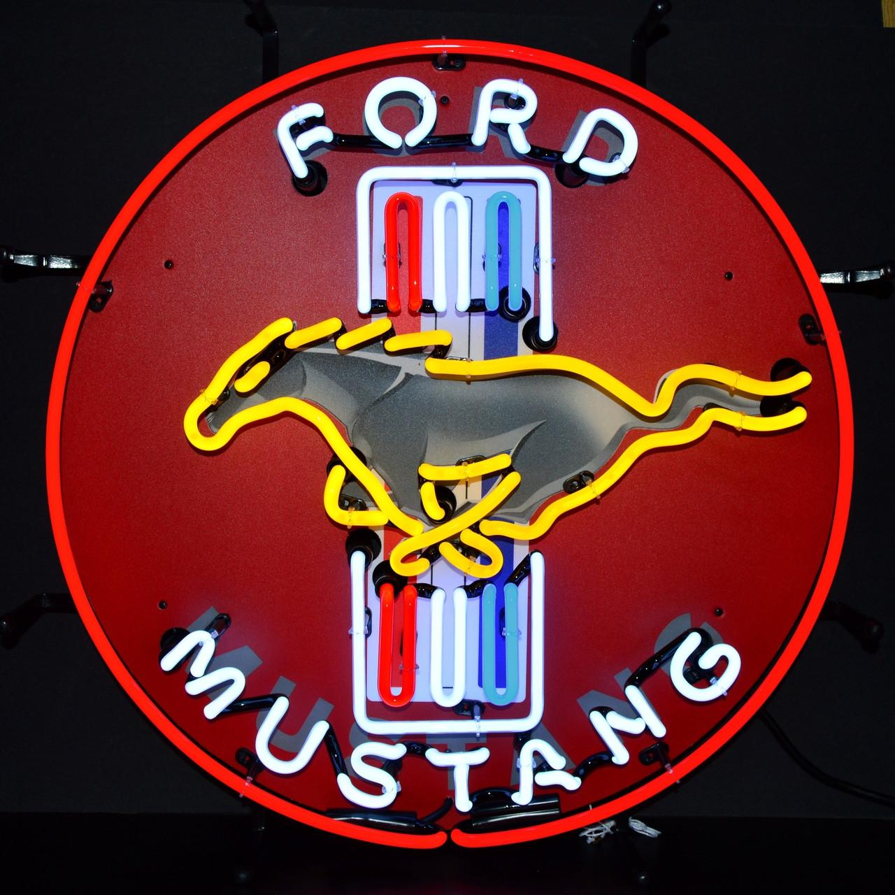 Ford Mustang Tri Bar Neon Sign Silkscreen Backing Auto