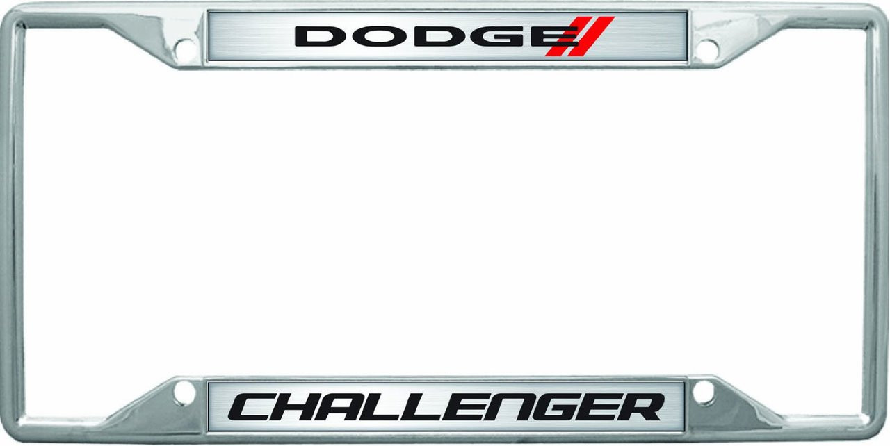 Dodge Stripe Challenger Chrome Metal License Frame | Auto Gear Direct