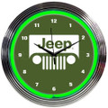 Jeep Grille Green Neon Clock